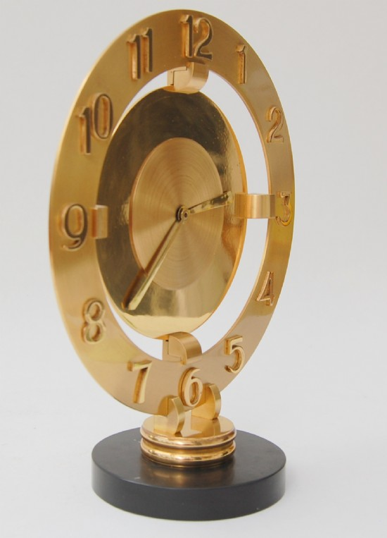 1930s machine age brass mantle clock by Bayard