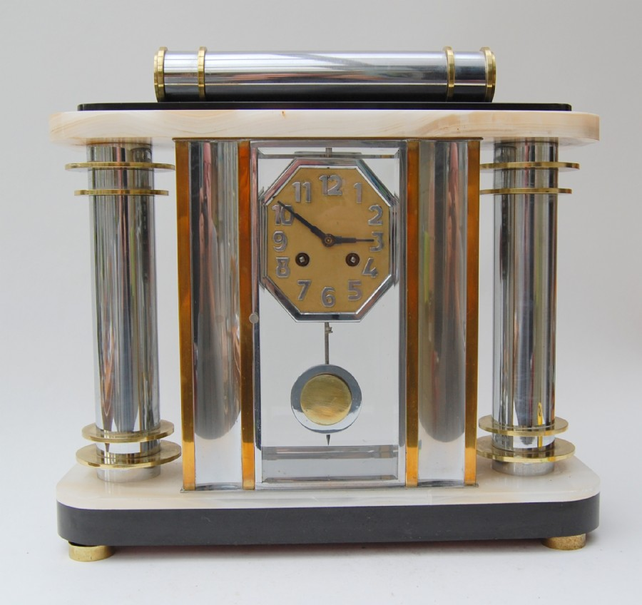 Paris 1920s large mantle clock in marble, slate, brass, nickle plate with bevelled glass.