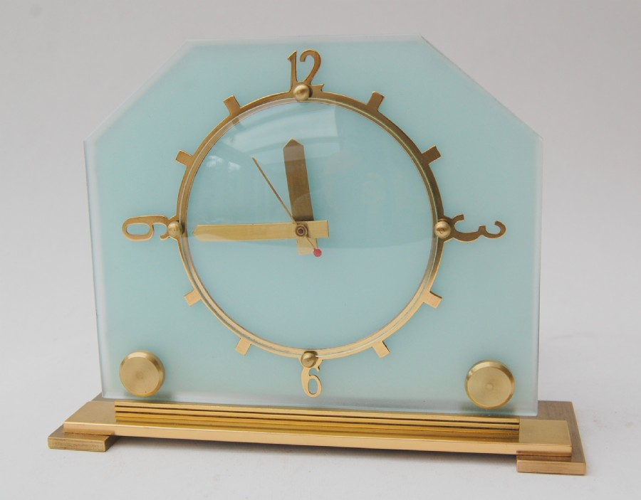 1930 Goblin brass and frosted glass mantle clock