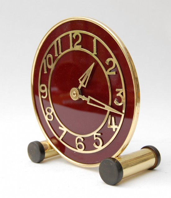 Brass and bakelite 1930s mantle clock
