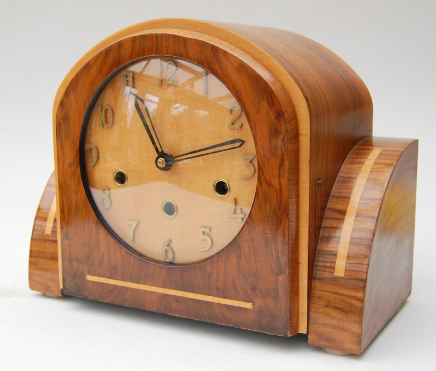 1930 Art Deco chiming mantle clock. Very handsome clock of the period.