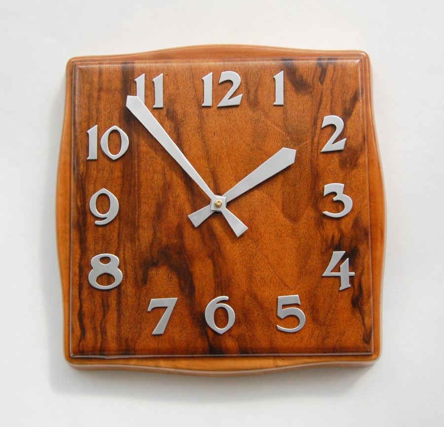 French 1930s art deco wall clock with modern movement - no winding.