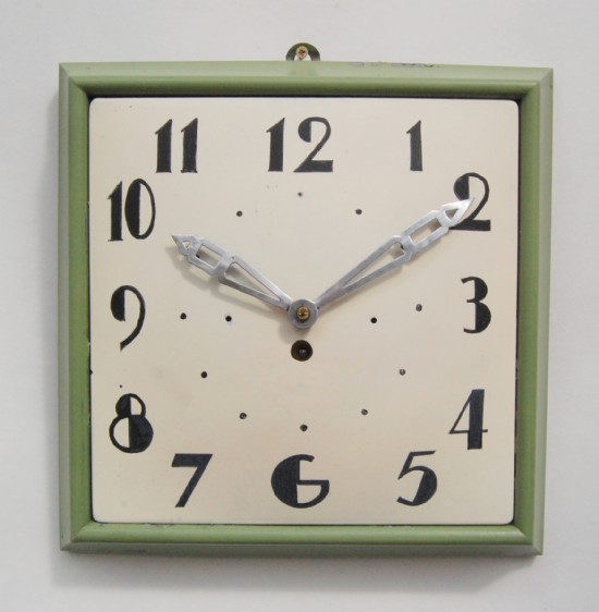 French 1920 art deco metal wall clock with fairly primitive style