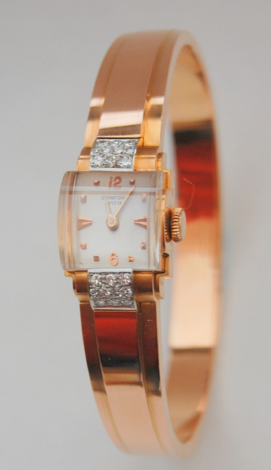 IWC - International Watch Company - solid gold and diamond bracelet watch dating from the early 1940s Little sign of this watch ever being worn. for sale