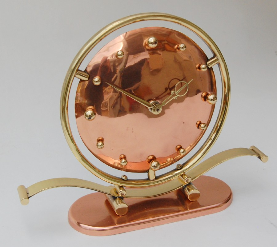 Jakob Palmtag 1930s copper and brass machine age mantle clock